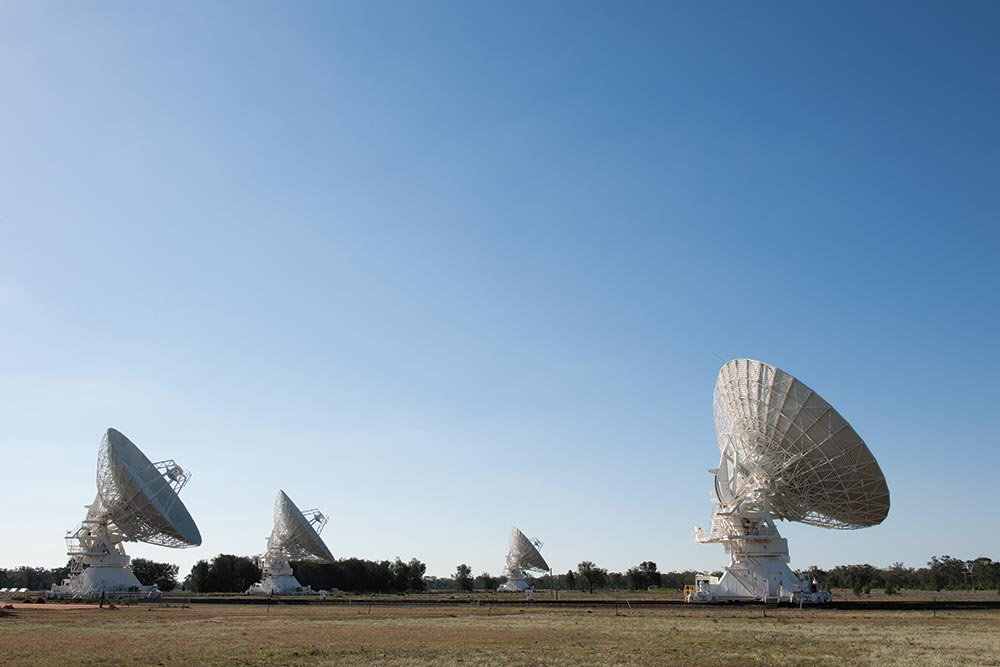 Radio telescopes  situated in the park