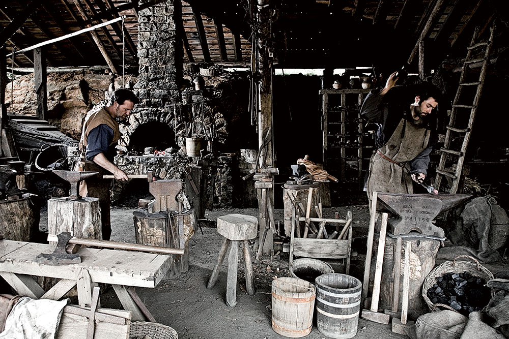 Vincent and Martin at the forge