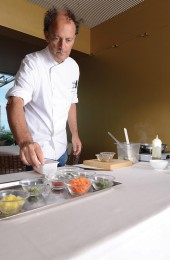 Moreno Cedroni preparing all ingredients for the lukewarm minestrone soup